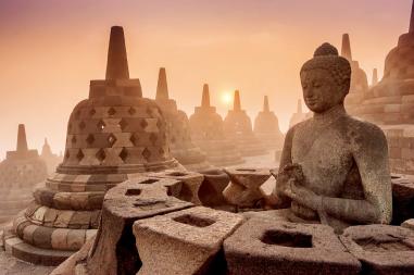Buddhist Temple Borobudur at Sunrise in Yogyakarta, Indonesia.