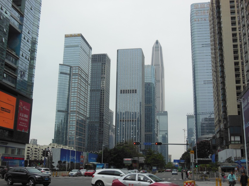 Skyscrapers seen from a road junction in the city centre. The tallest building is the 600m Ping An Finance Centre