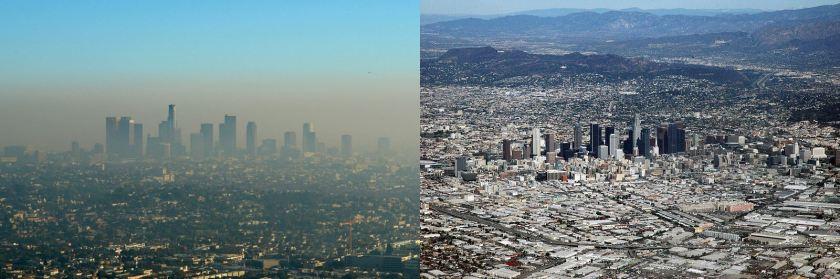 治理前与治理后的洛杉矶城区对比