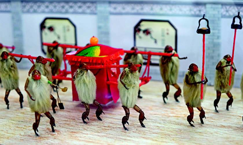 Hairy monkeys depict Chinese traditional marriage customs.